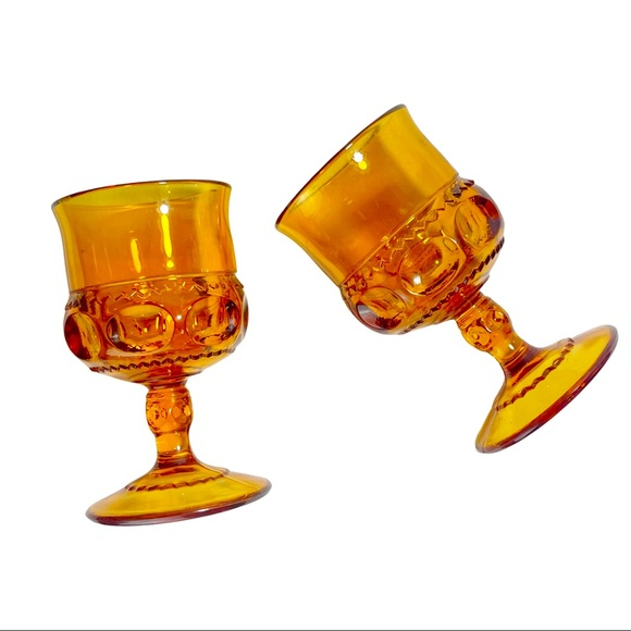 Vtg Indiana Glass Amber Kings Crown Wine Goblets